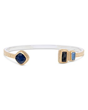Anna Beck - Sapphire & Hematite Open Cuff Bracelet in 18K Gold-Plated Sterling Silver