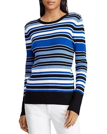 b66aff31 Ralph Lauren Button Shoulder Ribbed Stripe Top | Bloomingdale's
