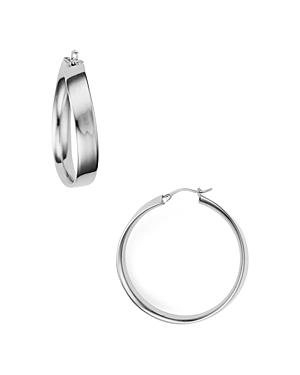 Curved Edge Hoop Earrings in 14K Gold-Plated Sterling Silver