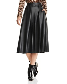 Hudson - Pleated Faux-Leather Skirt
