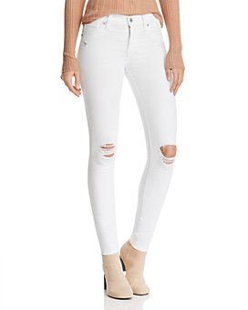 Hudson - Nico Destructed Ankle Skinny Jeans in White Rapids