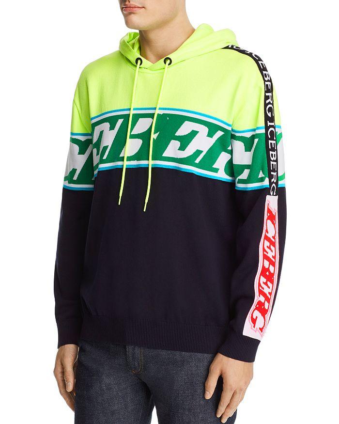 Iceberg - Color-Blocked Mixed-Logo Hooded Sweater