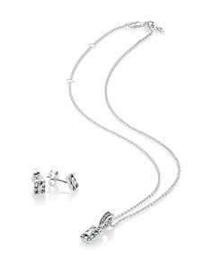 PANDORA - Sterling Silver & Cubic Zirconia Luminous Ice Pendant Necklace & Stud Earrings Gift Set