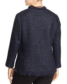 VINCE CAMUTO Plus - Ruffle-Trim Metallic-Tweed Blazer