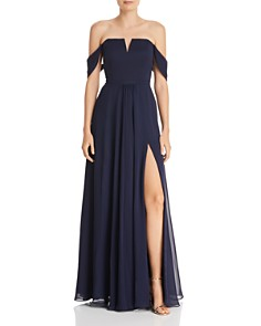 AQUA - Off-the-Shoulder Chiffon Gown - 100% Exclusive