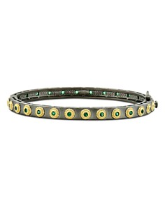 Freida Rothman - Color Eternity Bangle Bracelet in Black Rhodium-Plated Sterling Silver & 14K Gold-Plated Sterling Silver