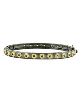 Freida Rothman - Color Theory Eternity Bangle Bracelet in Black Rhodium-Plated Sterling Silver & 14K Gold-Plated Sterling Silver