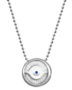 ALEX WOO Little Faith Evil Eye Pendant Necklace In Sterling Silver, 16
