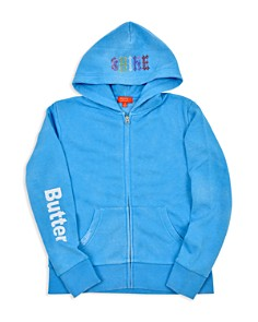 Butter - Girls' Fleece Embellished Summer Shine Zip-Up Hoodie - Big Kid, Little Kid