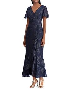 Ralph Lauren - Jacquard Faux-Wrap Gown