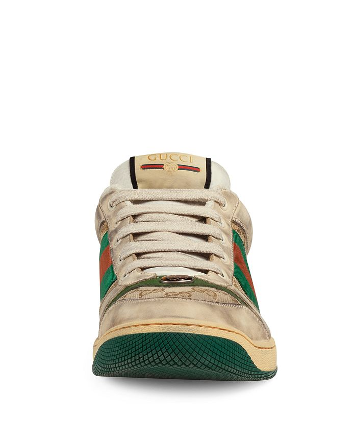 84f2525232a Gucci Men s Distressed GG Supreme Canvas   Leather Lace-Up Sneakers ...