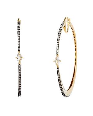 Nadri Como Large Topaz Hoop Earrings in 18K Gold-Plated Sterling Silver & Black Ruthenium-Plated Ste