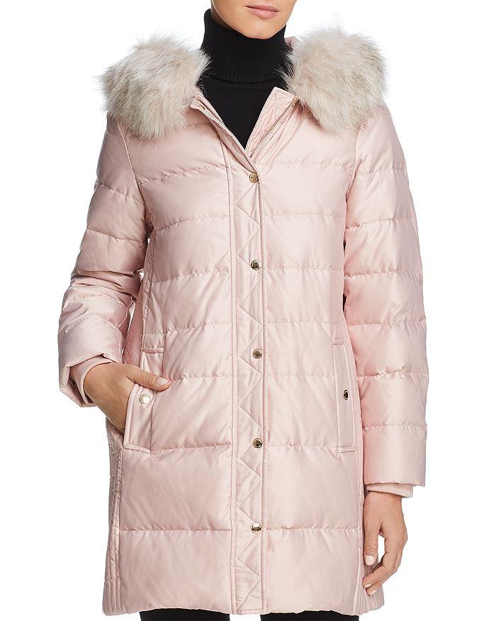 kate spade new york - Faux Fur Trim A-Line Puffer Coat