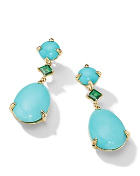 David Yurman - Chatelaine Drop Earrings in 18K Yellow Gold with Mexican Turquoise & Tsavorite