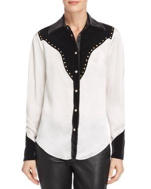DIVINE HÉRITAGE Velvet-Trimmed Western Shirt in White/Black