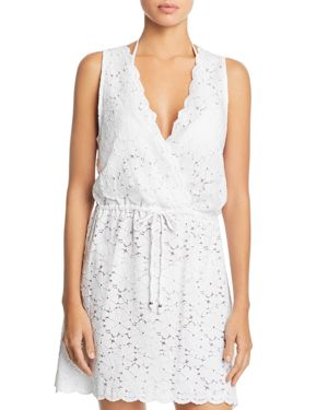J. VALDI Flower Child Sleeveless Lace Swim Cover-Up in White