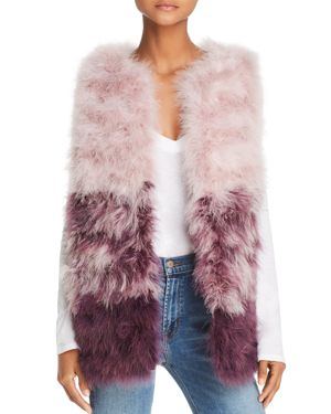 525 AMERICA Color-Blocked Feather Vest in Silver/Mauve Multi