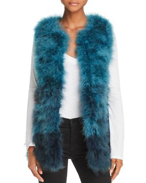 525 AMERICA Color-Blocked Feather Vest in Teal Multi