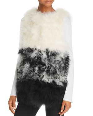 525 AMERICA Color-Blocked Feather Vest in White Multi