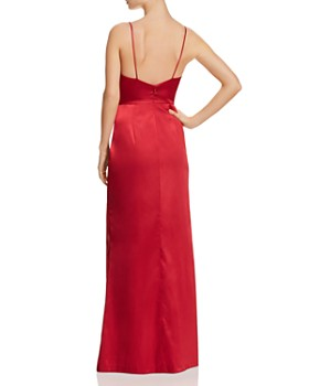 AQUA - Drape-Neck Ruched Gown - 100% Exclusive