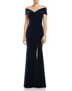 AQUA - Off-the-Shoulder Fluted Velvet Gown - 100% Exclusive