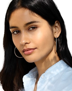 Shinola - Sterling Silver Coin Edge Large Hoop Earrings