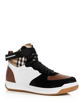 bebe100bdc9 Burberry - Men s Dennis Vintage Check Leather High-Top Sneakers ...