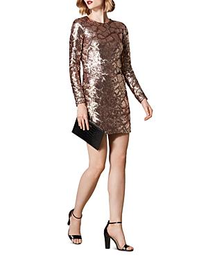 Karen Millen SEQUINED CROC PATTERN MINI DRESS