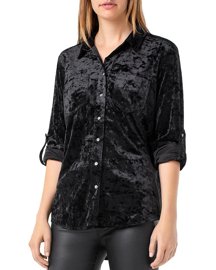 Liverpool LIVERPOOL CRUSHED VELVET BUTTON-DOWN SHIRT