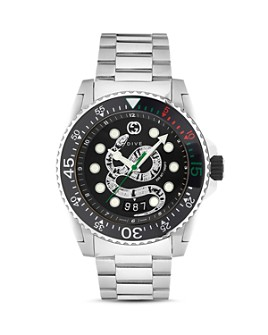 Gucci - Diver Silver-Tone Watch, 45mm