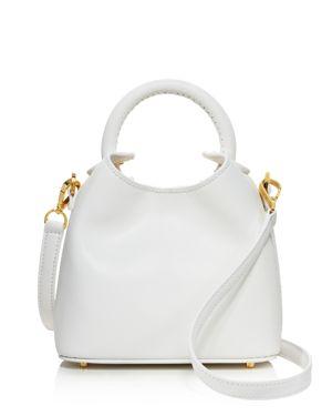 ELLEME Madeline Leather Crossbody in White/Gold
