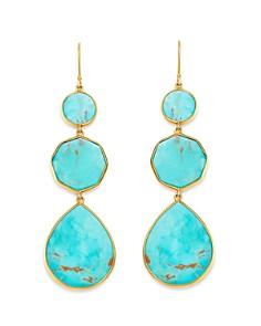 IPPOLITA - 18K Yellow Gold Polished Rock Candy Drop Earrings in Turquoise