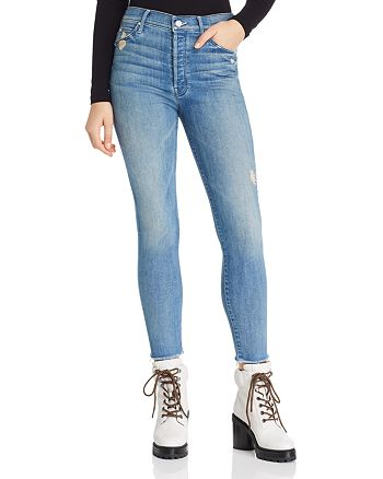 MOTHER - The Stunner Fray Ankle Skinny Jeans in Graffiti Girl Lover - 100% Exclusive