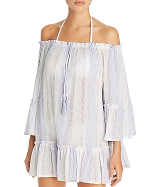 Surf Gypsy Woven Stripe Off-the-Shoulder Tunic Swim Cover-Up