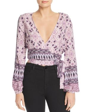 EN CREME Printed Cropped Wrap Top in Purple Multi