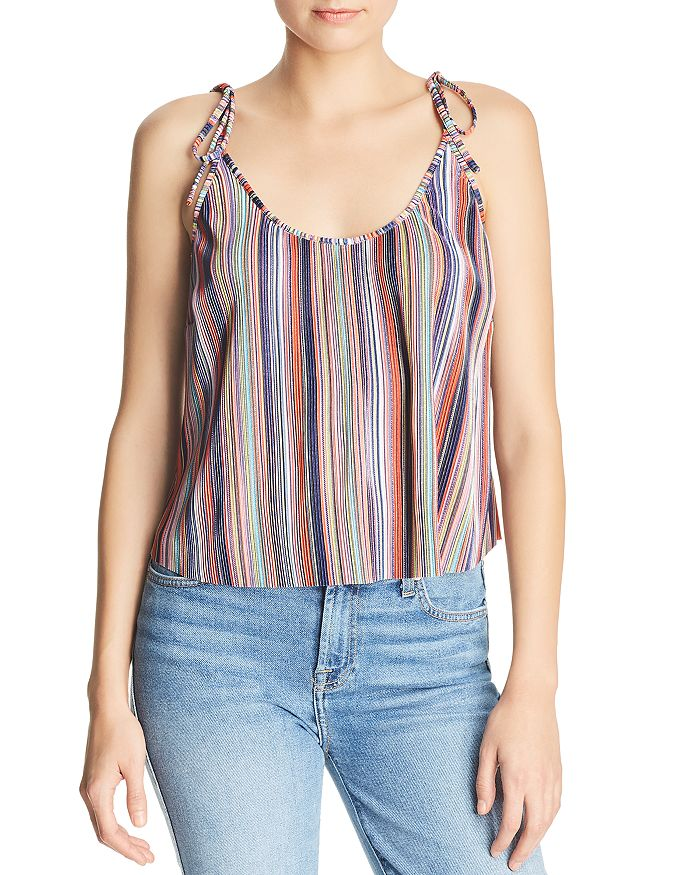 AQUA - Rainbow-Stripe Plissé Top - 100% Exclusive