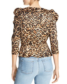 Lucy Paris - Drew Puff-Sleeve Leopard Wrap Top