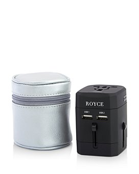 ROYCE New York - International Travel Adapter in Leather Carrying Case