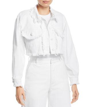 KSENIA SCHNAIDER Cropped Fringe Denim Jacket In White