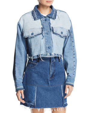 KSENIA SCHNAIDER Reworked Crop Denim Jacket In Mixed Blue