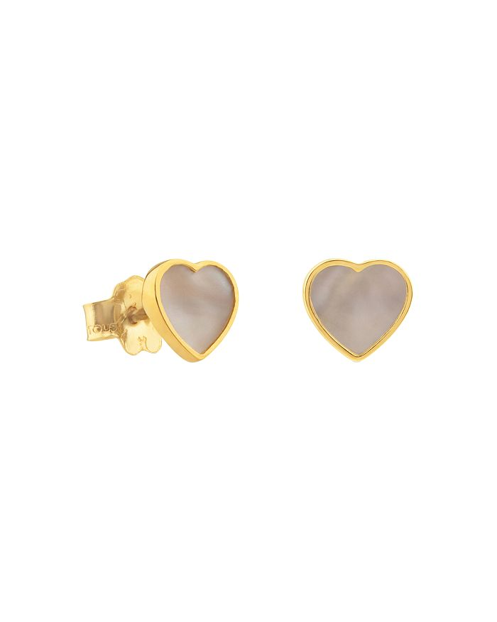 TOUS - 18K Yellow Gold XXS Mother-Of-Pearl Heart Stud Earrings