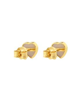 TOUS - 18K Yellow Gold XXS Mother-Of-Pearl Heart Stud Earrings