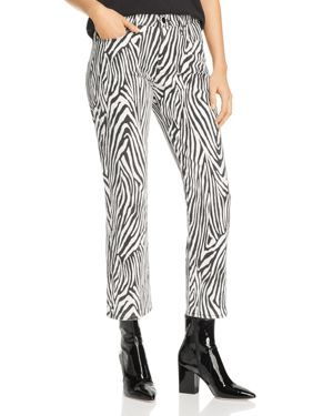Frame Le High Zebra Cropped Straight-Leg Jeans in Noir Multi