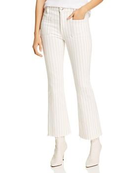 FRAME - Le Bardot Striped Kick Flare Raw-Edge Jeans in Courtyard