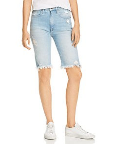 FRAME - Le Vintage Distressed Denim Bermuda Shorts in Palais