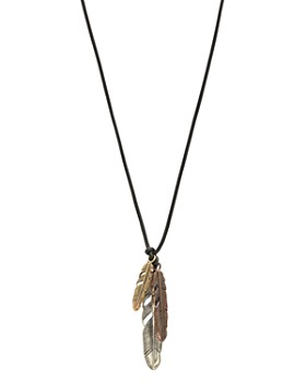 """John Varvatos Collection - Sterling Silver, Bronze & Brass Artisan Metals Feather Cluster Necklace, 24"""""""