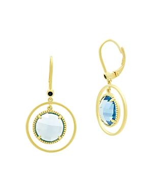 Freida Rothman Imperial Blue Open Hoop Earrings in 14K Gold-Plated Sterling Silver