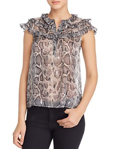 Rebecca Taylor - Snakeskin-Printed Top