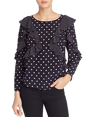 Rebecca Taylor Tops SILK RUFFLED DOT-PRINT TOP