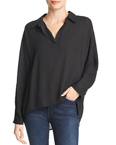 Marled - Button-Back High/Low Blouse